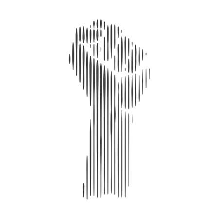 Abstract isolated vector raised fist illustration on white background. Clenched fist symbolizing the power of protest. Black lives matter sign. Symbol of strength and struggle for equality.