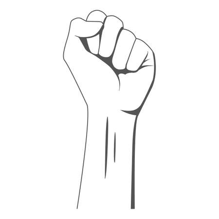 Isolated raised hand illustration on white background. Clenched fist illustrating the power of protest. Black lives matter sign. Symbol of strength and struggle for equality. Stop racism. EPS10.