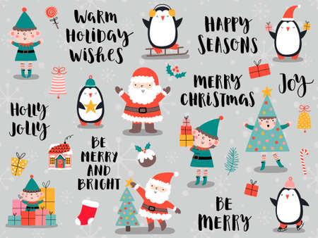 Christmas cards with Santa Claus, penguin, elf in cartoon style. Illustration