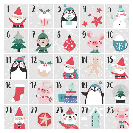 Advent calendar. Christmas poster.