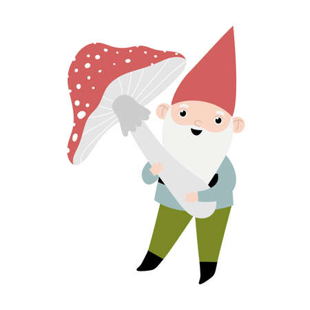Vector card with gnome and mushroom.