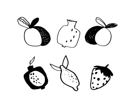 Set summer, juicy, ripe fruits pomegranate,strawberry,peach, lemon isolated on white background in doodle style. Vector hand drawn illustration. Outline cute stock sketch. Healthy kids vitamins food. Ilustracja