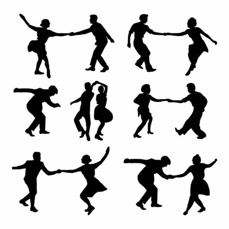 Set silhouette dancing people in a retro swing isolated. People in 40s or 50s style dancing Vector illustration