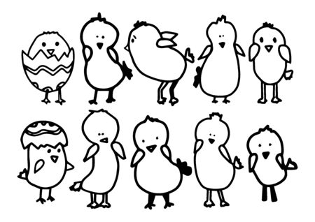 Big Set cute chicks. Vector outline doodle illustration isolated on white background. Concept happy Easter. Desing animation, children textile, coloring book, stikers,T-shirt, print.