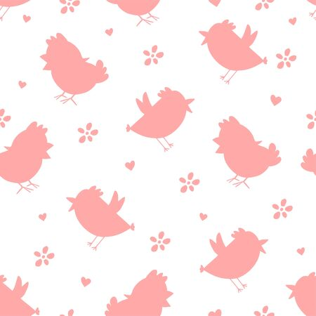 Seamless pattern with pink silhouette chick's, flowers.Happy Easter template. Simple print.Child print on textile, wallpaper. Vector cartoon illustration. Pastel pink spring Easter holiday background.
