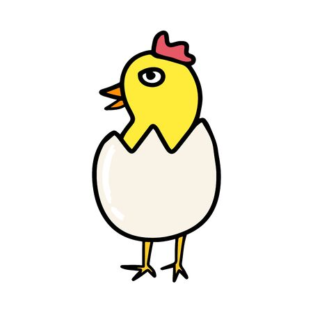 Cute little chick hatched from an egg in cartoon style isolated on white background.Single hand drawn bird. Colored vector stock illustration. Coloring book.Sign sketch.Farm animal hen.Design sticker. Illustration