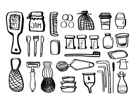 Set ecology doodles isolated on white background. Recycling. Vector outline illustration. Concept of refuse plastic, eco lifestyle and go green. Comb,cutlery,can,toothbrush,reusable,ceramic tableware.