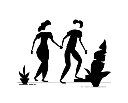 A silhouette of a pair of people. Young couple discusses future wedding. Vector. Cartoon people characters talking.Valentines Day.Simple character humans in conversation. Black silhouette isolated.