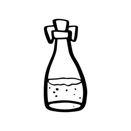 Glass bottle for almond or coconut or hemp or vegan oil in doodle style isolated on white background. Organic product. Magic bottle. Vector outline hand drawn illustration.