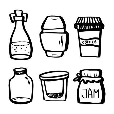Eco set. Reusable jars of food storage containers in doodle style isolated on white background. Zero waste. Vector outline illustration. Concept of refuse plastic,eco lifestyle and go green.Jars cups. Çizim