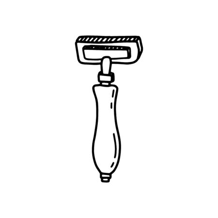 Metallic manual shaving machine in hand drawn doodle style isolated on white background. Vector retro illustration. Zero waste, recycling concept.Male and female hair removal device.Sign illustration.