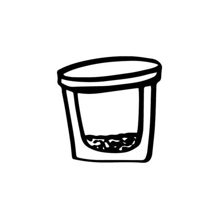 A small glass jar for a female cream. Eco glass storage container ecology concept in doodle style isolated on white background. Zero waste. Refuse plastic. Vector outline illustration. Save planet.