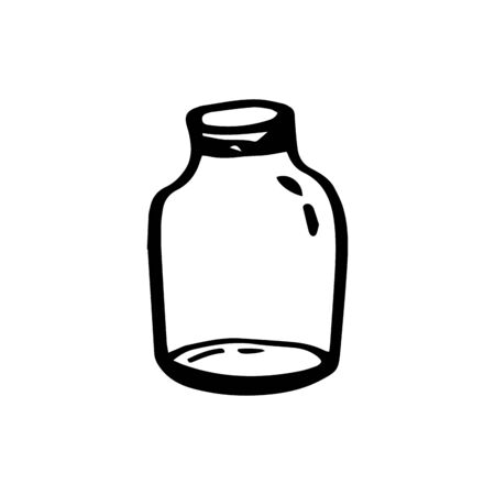 Eco glass storage container ecology concept in doodle style isolated on white background. Zero waste. Refuse plastic. Vector outline illustration. Save planet. One lines. Minimalist style. Recycling.