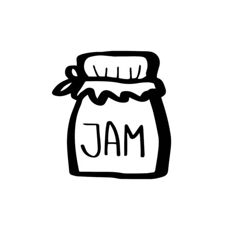 Glass jar for jam and honey without a plastic lid tied with a rag. Ecology concept in doodle style isolated on white background. Zero waste. Refuse plastic. Vector outline illustration. Save planet.