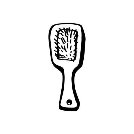 Wooden hair comb in doodle style isolated on white background. Hand drawn sketch. Zero waste concept. Vector outline illustration. Recycling, free plastic. Sign the subject of womens wardrobe. Çizim