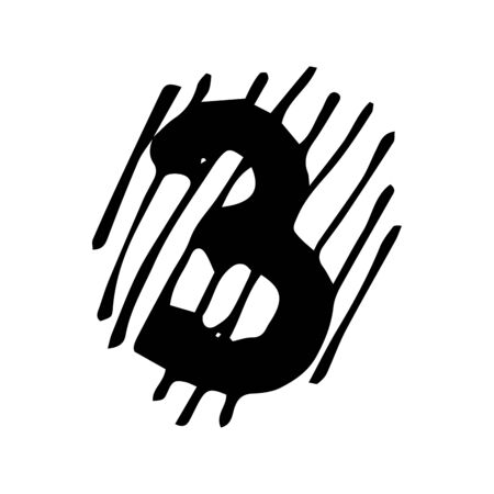 Number 3 in hand drawn doodle style isolated on white background. Vector icon. Sketch illustration. Design Birthday card, web, tattoo, print.