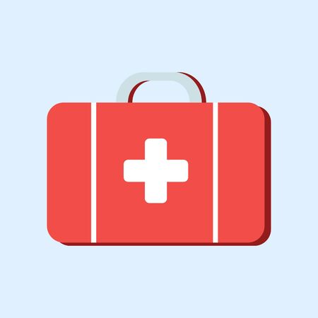 First aid kit bag of the attending physician in flat style isolated on blue background. Vector stock illustration. Ambulance. Red bag with a white cross. Medical icon.Medical box. Diagnostics concept. Ilustracja