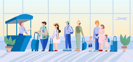 Queue at the airport.Flat concept with people.Registration.People standing in queue or line to check-in desk in order to register for flight.Colored cartoon vector illustration.Air flight check queue. 向量圖像