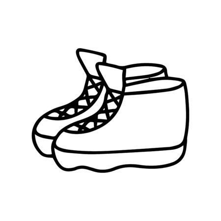 Hiking boots or sneakers in doodle style isolated on white background. Sign icon. Vector outline illustration. Decoration element. shoes for walking, athletics,winter sports, rock climbing.