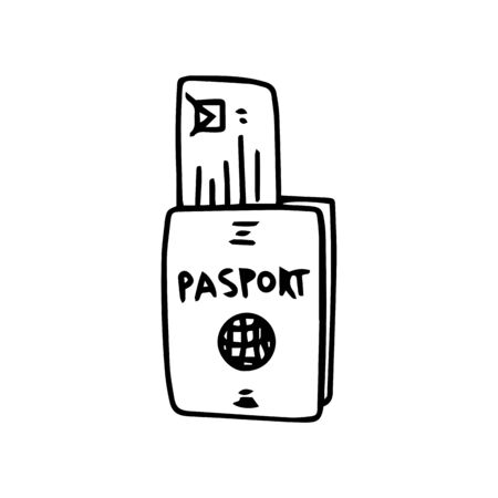 Passport id with checked ticket in doodle style isolated on white background. Sign icon. Vector outline illustration. Usable as icon or symbol. Decoration element. Hand drawn black sketch.