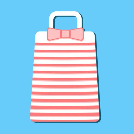 Summer beach hand bags with bow in flat style isolated on blue background. Sign handbag.Minimal flat vector illustration for print or web. Striped style. Shop purse. Girly case. Illustration