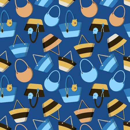 Colorful seamless summer pattern with summer beach bags in flat style isolated on blue background.Vector cute travel handbag print.Design textile,wallpaper,fabric,packing.Gorgeous backdrop for website Illustration