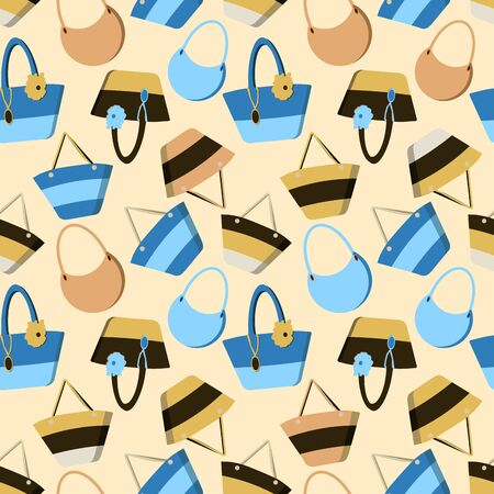 Colorful seamless summer pattern with summer beach bags in flat style isolated on yellow background. Vector cute travel handbag print. Design textile,wallpaper,packing. Gorgeous backdrop for website. Illustration