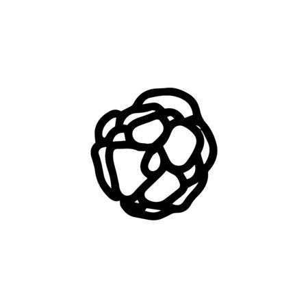 Sign hand drawn herbal Twig leaves. Floral sprig. Spring flower, buttons, blade, bush isolated on white background. Doodle outline vector illustration for wedding design
