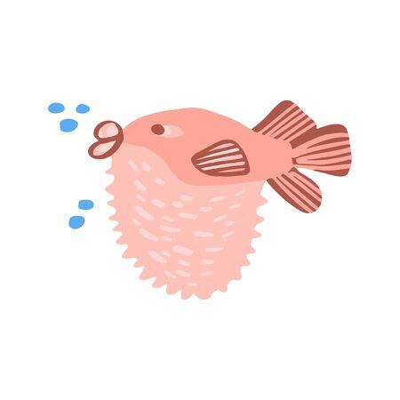 Animal marin doux dans un style plat isolé sur fond blanc. Illustration vectorielle cool d'animaux océaniques pour t-shirt de pépinière, vêtements pour enfants, invitation à une fête et à une douche de bébé. Conception simple d'enfant d'été.