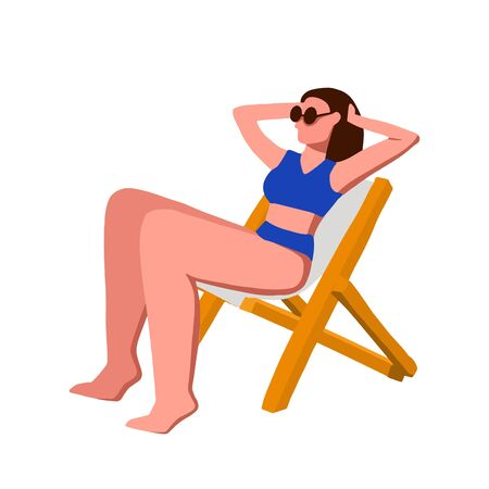 Girl sunbathes on a deck chair in flat style isolated on white background. Vector simple colored illustration. A woman with long hair in sunglasses with raised hands sits on a chair.
