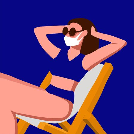 Coronavirus CoVID. Woman in a blue swimsuit and a facial mask. Vector flat simple illustration. Quarantine Has spoiled travel vacation because of coronavirus outbreak. Pandemic COVID-19. Medical mask