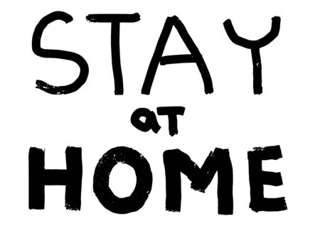 Lets stay home card. Corona Virus 2019 - nCOV. Vector outline lettering. Ink illustration. Modern brush calligraphy. Phrase for poster during the quarantine period of the coronavirus pandemic.
