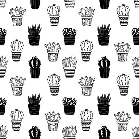 Seamless pattern with potted plants cactuses and succulents in doodle style isolated on white background. Vector illustration 벡터 (일러스트)