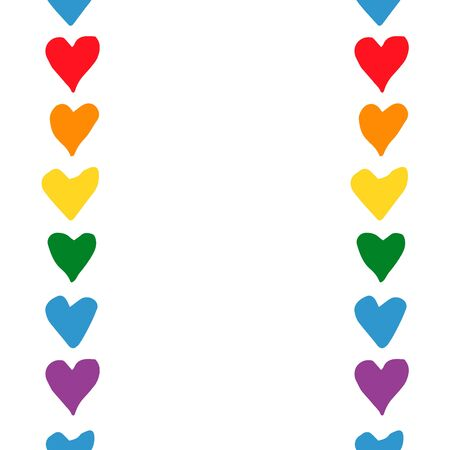 Vertical seamless pattern. Frame with simple hearts in doodle style - Life,Gets,Better,Together.Hand written pride, love. Copy space. LGBT rights symbol. Isolated. Vector illustration