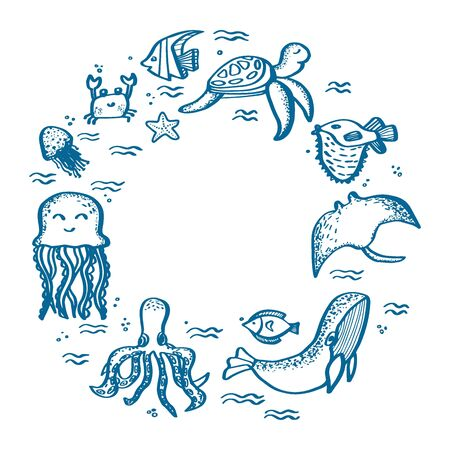 World Oceans day frame with ocean animals isolated. Lettering hand drawn text.