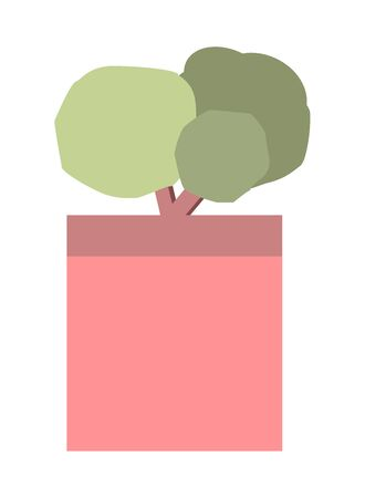 Bonsai tree for garden and terrace isolated on white background. Vector flat cartoon illustration. Sign simple furniture.