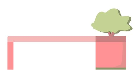 Bench with bonsai tree for garden and terrace isolated on white background. Vector flat cartoon illustration. Sign simple furniture. Stock Illustratie