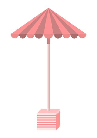 Street Umbrella for garden and terrace isolated on white background. Vector flat cartoon illustration. Sign simple furniture.