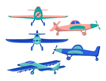 Set Airplane in cartoon hand drawn style isolated on white background. Set of agricultural aircraft vector icons for kids playing, web design, print on t shirt.