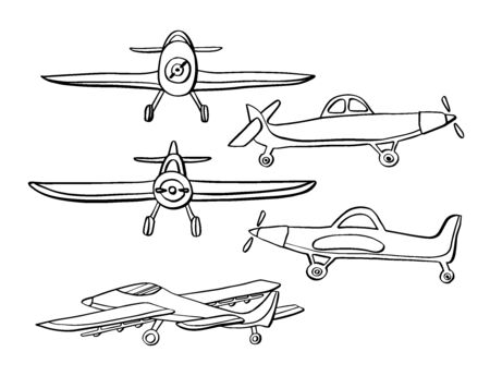 Set Airplane in hand drawn doodle style isolated on white background. Set of agricultural aircraft vector outline icons for kids playing, web design, print on t shirt.