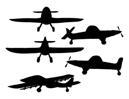 Set silhouette Airplane in doodle style isolated on white background. Set of agricultural aircraft vector outline icons for kids playing, web design, print on t shirt.