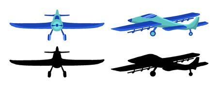 Set colored and black silhouette Airplane in doodle style isolated on white background. Set of agricultural aircraft vector outline icons for kids playing, web design, print on t shirt.