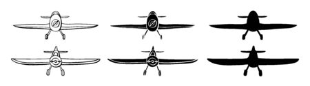 Set Airplane in hand drawn doodle style isolated on white background. Set of agricultural aircraft vector outline and silhouette icons for kids coloring book.