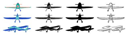 Set Airplane in hand drawn doodle and cartoon style isolated on white background. Set of agricultural aircraft vector outline, silhouette and colored icons for kids coloring book.