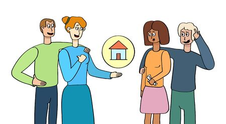 Family selling or renting house to another family.Offer to buy a house. Newlyweds are buying property. Character in cartoon style isolated on white background.Vector illustration. Group people talking