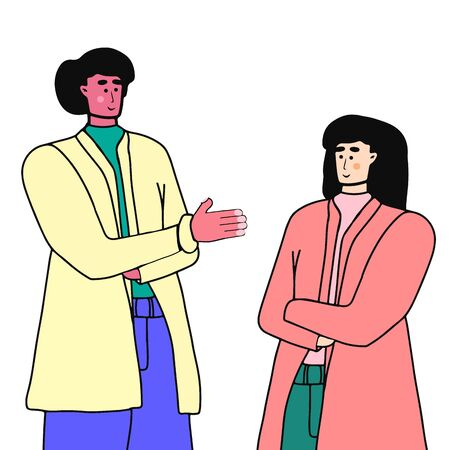 Acquaintance of two young people. A man holds out his hand to a woman. business meeting. Vector character in cartoon style isolated on white background.