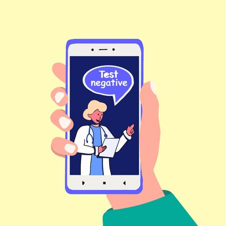 Online doctor says Test negative. Hand holds smartphone and telk to medic. Therapist consultation. Vector cartoon hand drawn illustration Vettoriali