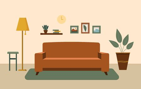 Cozy living room interior with furniture, shelves with books and home flowers, floor lamp. Flat cartoon vector illustration. Selling a house. Rental of property. Ilustração