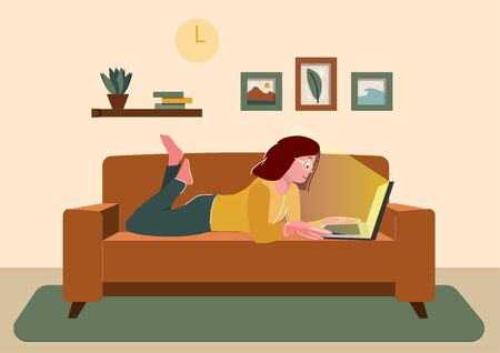 Freelance home or studying concept. Remote work. Woman works sitting at home. Girl with computer lies on the couch. Cartoon flat vector illustration Vectores