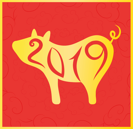 New Year 2019 Chinese version (vector). Year of the Gold pig with number 2019. Red and gold Chinese ornament. Banco de Imagens - 122896436